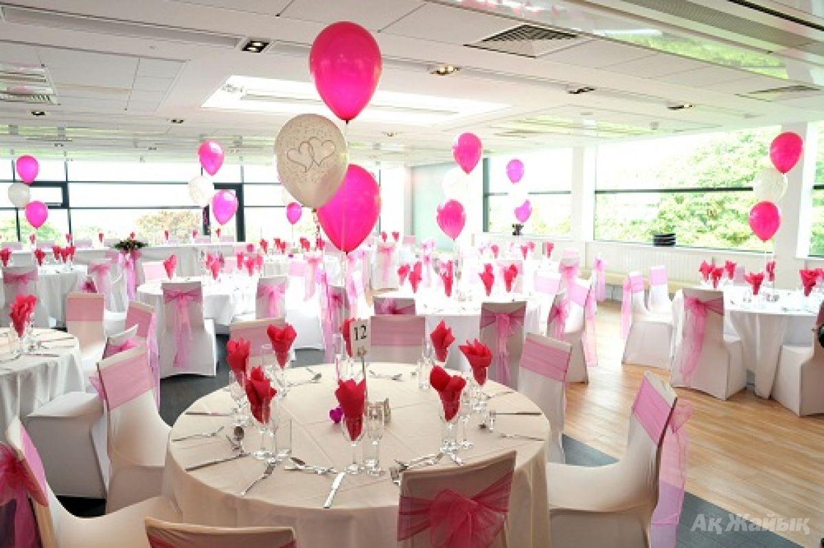 Свадебное украшение зала шарами своими руками фото